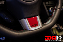 Red Domed Steering Wheel Trim W/ Black WRX logo