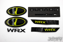 "GIFT PACK - GLOSS black WRX, Symmetrical AWD, GLOSS black fender, NEON YELLOW front/rear emblem ""i"" (2015+ WRX)"