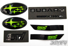 "GIFT PACK - GLOSS black STI,  Symmetrical AWD, GLOSS black fender, LIME GREEN front/rear emblem ""stars"" (2015+ STI)"