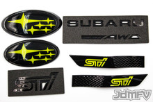 "GIFT PACK - GLOSS black STI, Symmetrical AWD, GLOSS black fender, NEON YELLOW front/rear emblem ""stars"" (2015+ STI)"