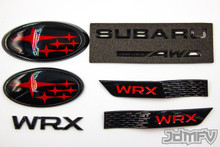 "GIFT PACK - GLOSS black WRX,  Symmetrical AWD, GLOSS black fender, RED front/rear emblem ""stars"" (2015+ WRX)"
