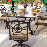 Darlee Ten Star Patio Dining Set With Glass Top Table -Antique Bronze -Seats 6