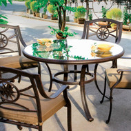 Darlee Ten Star Patio Dining Set With Glass Top Table -Antique Bronze -Seats 4