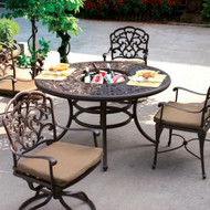 Darlee Catalina Patio Dining Set With Ice Bucket Insert -Antique Bronze -Seats 4