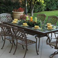 Darlee Sedona Patio Dining Set With Granite Top Table -Mocha / Brown Granite Tile -Seats 8