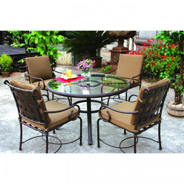 Darlee Malibu Patio Dining Set With Glass Top Table