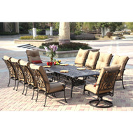 Darlee Santa Anita Patio Dining Set With Extension Table -Antique Bronze -Seats 10