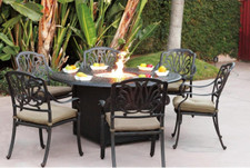 Darlee Elisabeth Patio Fire Pit Dining Set  -Antique Bronze -Seats 6