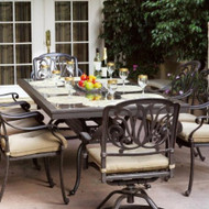 Darlee Elisabeth Patio Dining Set With Granite Top Table -Antique Bronze / Brown Granite Tile -Seats 6