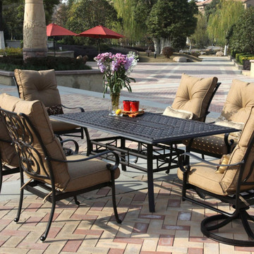 Darlee Santa Anita Patio Dining Set Antique Bronze Seats 6 San