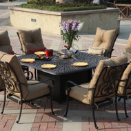 Darlee Santa Anita Patio Fire Pit Dining Set -Antique Bronze -Seats 8