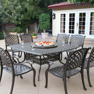 Darlee Nassau Patio Dining Set With Lazy Susan -Antique Bronze -Seats 8