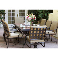 Darlee Malibu Patio Dining Set With Granite Top Table -Antique Bronze / Brown Granite Tile -Seats 8
