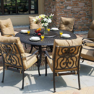 Darlee Santa Anita Patio Dining Set With Lazy Susan -Antique Bronze -Seats 8