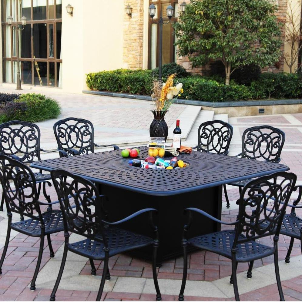 Darlee Florence Patio Fire Pit Dining Set Mocha Seats 8