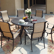 Darlee Monterey Sling Patio Dining Set With Lazy Susan -Antique Bronze -Seats 7
