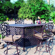 Darlee Catalina Patio Party Bar Set -Antique Bronze - Seats 4