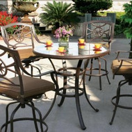 Darlee Ten Star Patio Bar Set With Glass Top Table -Antique Bronze -Seats 4