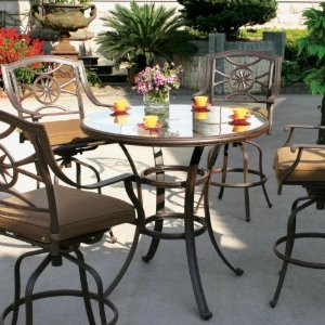 Darlee Ten Star Patio Bar Set With Glass Top Table