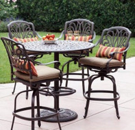 Darlee Elisabeth Patio Bar Set -Antique Bronze -Seats 4
