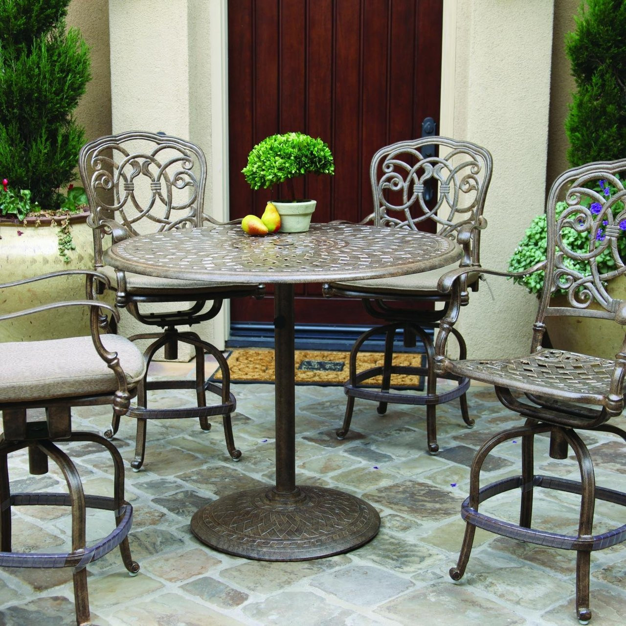 Picture of: Darlee Florence Patio Counter Height Bar Set Antique Bronze Seats 4 San Diego Spa Patio