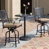 Darlee Santa Barbara Patio Counter Height Bar Set Antique Bronze -Seats 2