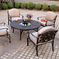 Darlee Catalina Deep Seating Patio Set With Ice Bucket Insert -Antique Bronze -Seats 4