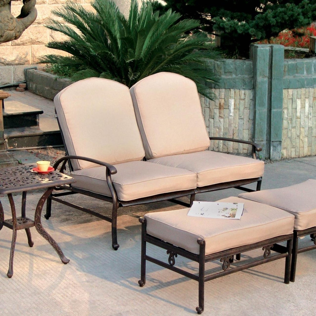 Darlee Catalina Reclining Patio Loveseat Set Antique Bronze Seats