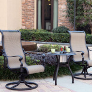Darlee Monterey Sling Patio Conversation Set With Ice Bucket Insert -Antique Bronze -Seats 2