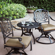 Darlee Elisabeth Patio Conversation Set With Ice Bucket Insert - Antique Bronze -Seats 2