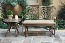 Darlee Santa Barbara Patio Bench Glider Conversation Set -Antique Bronze -Seats 2