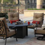 Darlee Santa Anita Deep Seating Patio Fire Pit Conversation Set -Antique Bronze -Seats 4