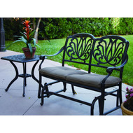 Darlee Elisabeth Patio Bench Glider Conversation Set -Antique Bronze -Seats 2