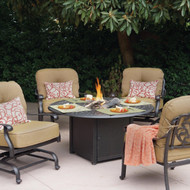 Darlee Elisabeth Patio Conversation Set With Fire Pit Table -Antique Bronze -Seats 4
