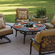 Darlee Santa Monica Patio Conversation Set With Ice Bucket Insert -Antique Bronze -Seats 4
