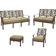 Darlee Santa Barbara Deep Seating Patio Conversation Set -Mocha -Seats 6