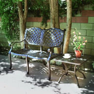 Darlee Nassau Patio Bench Conversation Set -Antique Bronze -Seats 2