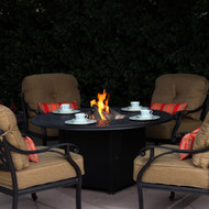 Darlee Nassau Patio Conversation Set With Fire Pit Table Antique Bronze -Seats 4