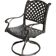 Darlee Nassau Patio Swivel Rocker Dining Chair -Antique Bronze