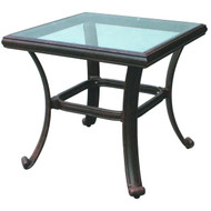 Darlee Series 50 Patio End Table With Glass Top -Antique Bronze