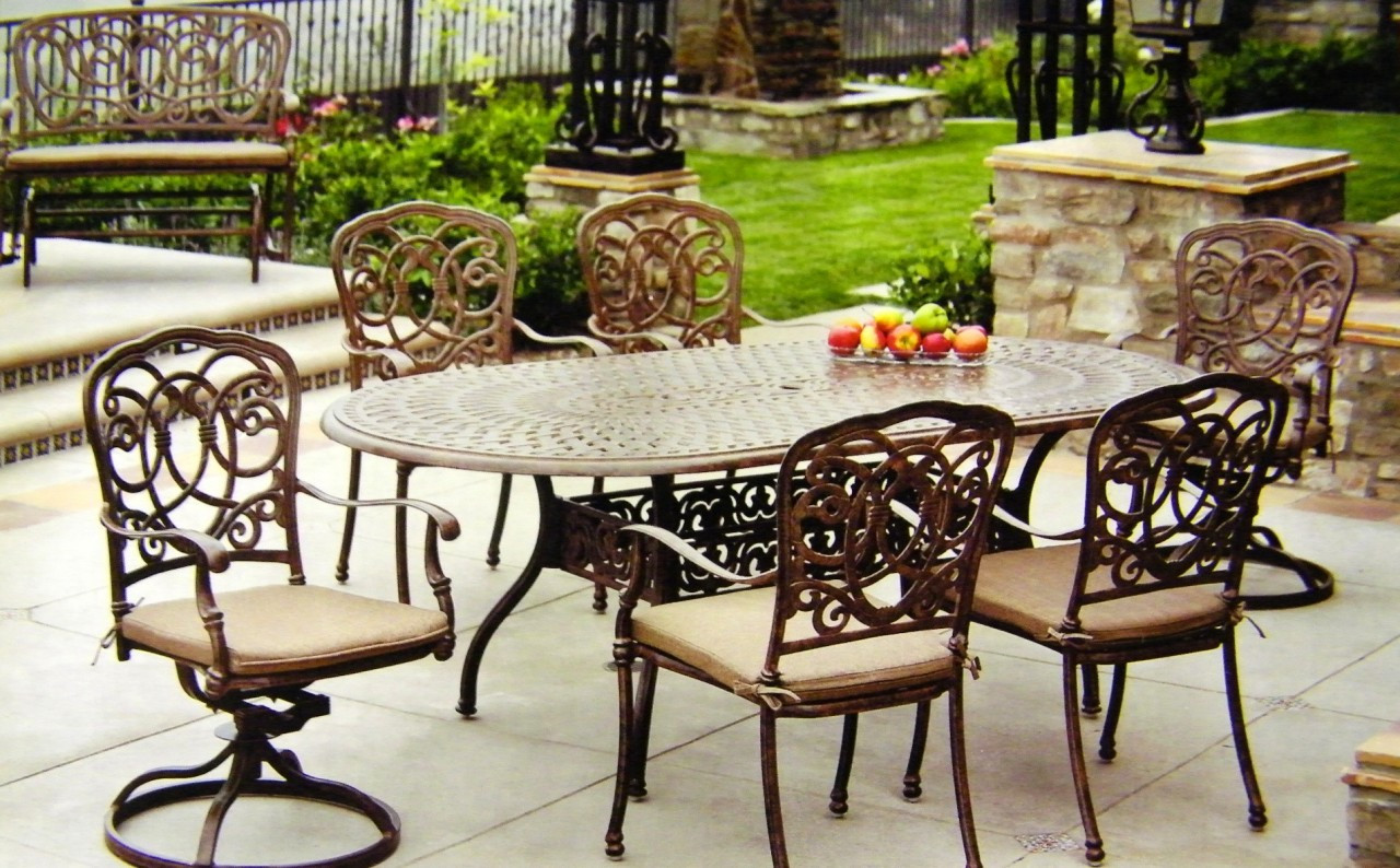 Darlee Florence Patio Furniture Dining Set With Oval Table