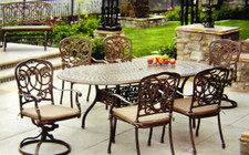Darlee Florence Patio Furniture Dining Set with Oval Table - Seats 6