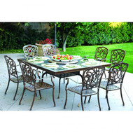 Darlee Florence Patio Furniture Dining Set Granite Top  - Seats 8