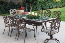 Darlee Florence Patio Furniture Dining Set Granite Top Rectangular  - Seats 8
