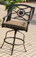 Darlee Ten Star Patio Counter Height Swivel Bar Stool -Antique Bronze