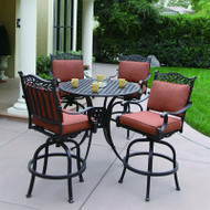 Darlee Charleston Patio Furniture Bar Set with Swivel Seats -Seats 4