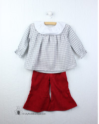 Emma Jean Kids Grey/Red Kat Bell Bottom Set