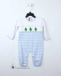 Banana Split Trim the Tree Smocked Boys Romper