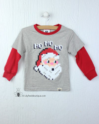 Wes & Willy Red Pixel Santa Tee