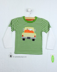 Be Mine Green Stripes Pumpkin Applique Tee